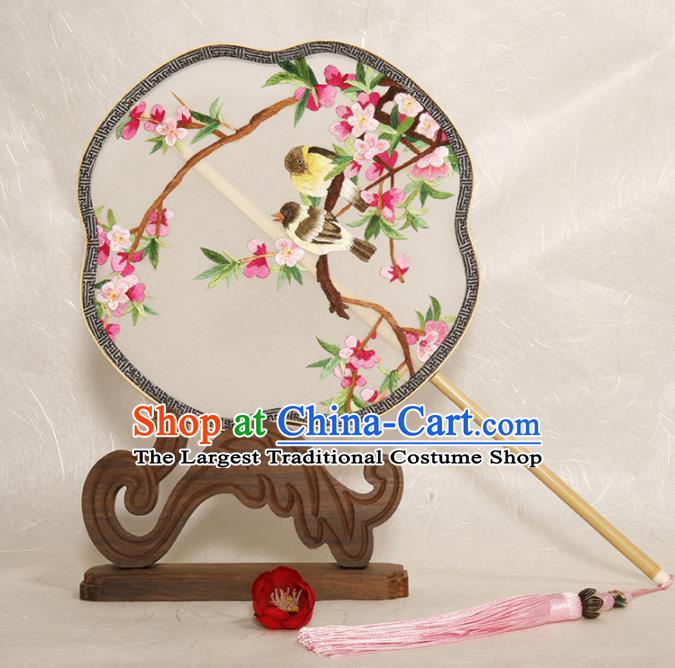 Chinese Traditional Palace Fans Embroidered Peach Blossom Fans Ancient Hanfu Silk Fan for Women