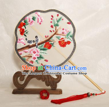 Chinese Traditional Palace Fans Embroidered Begonia Fans Ancient Hanfu Silk Fan for Women