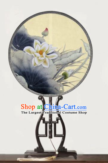 Chinese Traditional Palace Fans Redwood Round Fans Ancient Hanfu Printing Lotus Silk Fan for Women