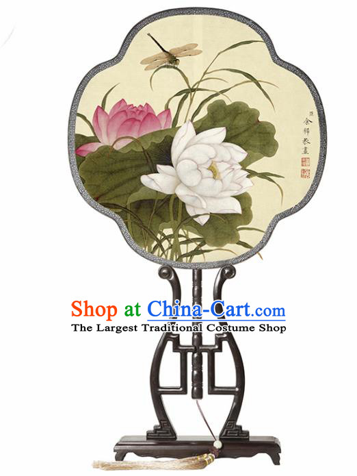 Chinese Traditional Palace Fans Redwood Fans Ancient Hanfu Printing Lotus Silk Fan for Women
