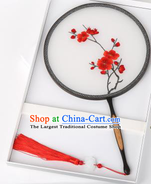 Chinese Traditional Palace Fans Embroidered Red Wintersweet Fans Ancient Hanfu Silk Round Fan for Women