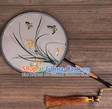 Chinese Traditional Palace Fans Embroidered Orchid Fans Ancient Hanfu Silk Round Fan for Women