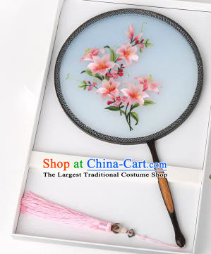 Chinese Traditional Palace Fans Embroidered Pink Flowers Fans Ancient Hanfu Silk Round Fan for Women