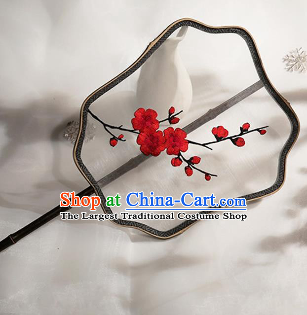 Chinese Traditional Palace Fans Hanfu Embroidered Red Wintersweet Round Fans Ancient Silk Fan for Women