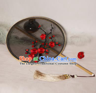 Chinese Traditional Palace Fans Hanfu Embroidered Red Plum Blossom Fans Ancient Silk Fan for Women