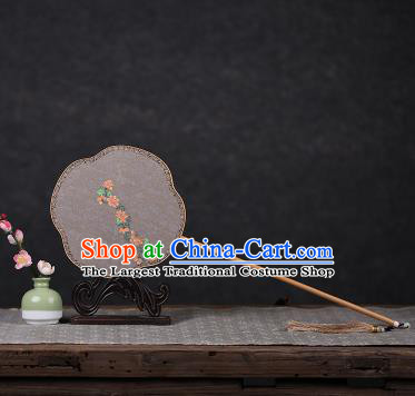 Chinese Ancient Traditional Palace Fans Hanfu Hand Painting Flowers Round Fans Silk Fan for Women