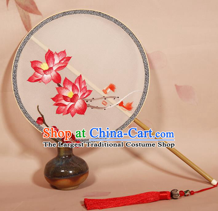 Chinese Ancient Princess Round Fan Traditional Embroidered Lotus Palace Fans Hanfu Silk Fans for Women