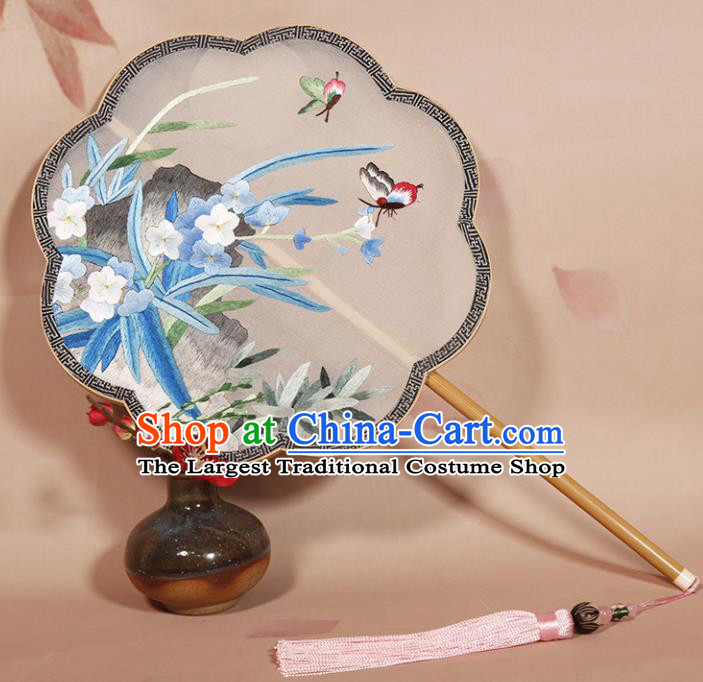 Chinese Ancient Princess Round Fan Traditional Embroidered Orchid Palace Fans Hanfu Silk Fans for Women