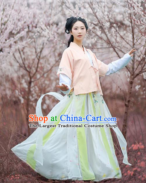 Chinese Ancient Drama Peri Embroidered Costumes Traditional Tang Dynasty Princess Hanfu Dresses for Women