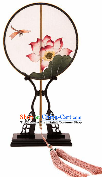 Chinese Ancient Princess Hanfu Palace Fan Traditional Embroidered Lotus Pure Silk Round Fans for Women