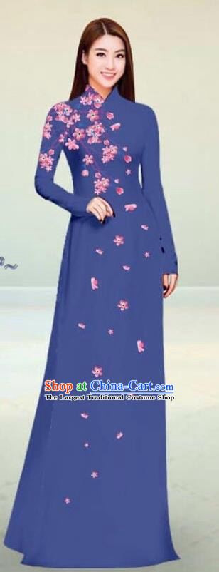 Asian Vietnam Traditional Navy Cheongsam Vietnamese Classical Ao Dai Qipao Dress for Women