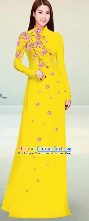 Asian Vietnam Traditional Yellow Cheongsam Vietnamese Classical Ao Dai Qipao Dress for Women
