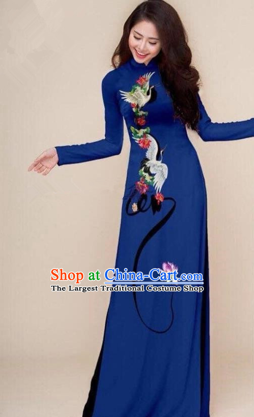 Asian Vietnam Traditional Printing Cranes Navy Cheongsam Vietnamese Classical Ao Dai Qipao Dress for Women