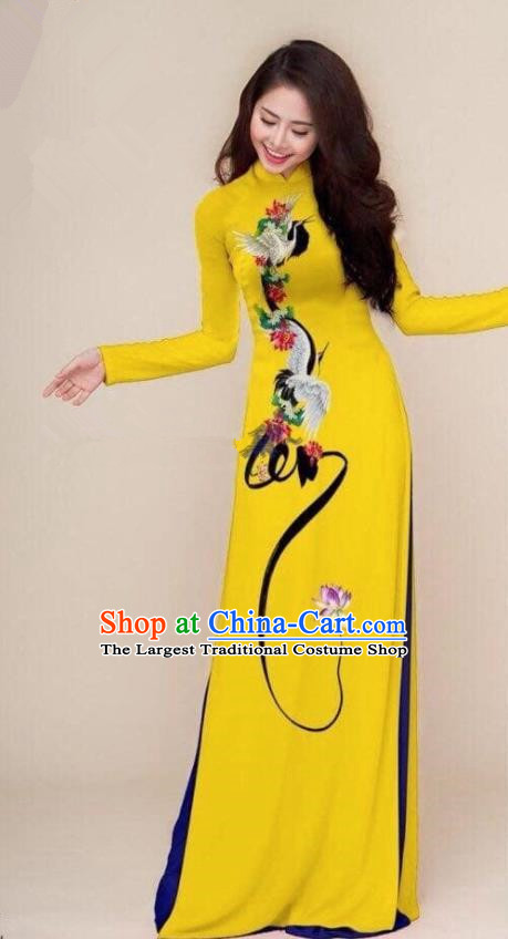 Asian Vietnam Traditional Printing Cranes Yellow Cheongsam Vietnamese Classical Ao Dai Qipao Dress for Women