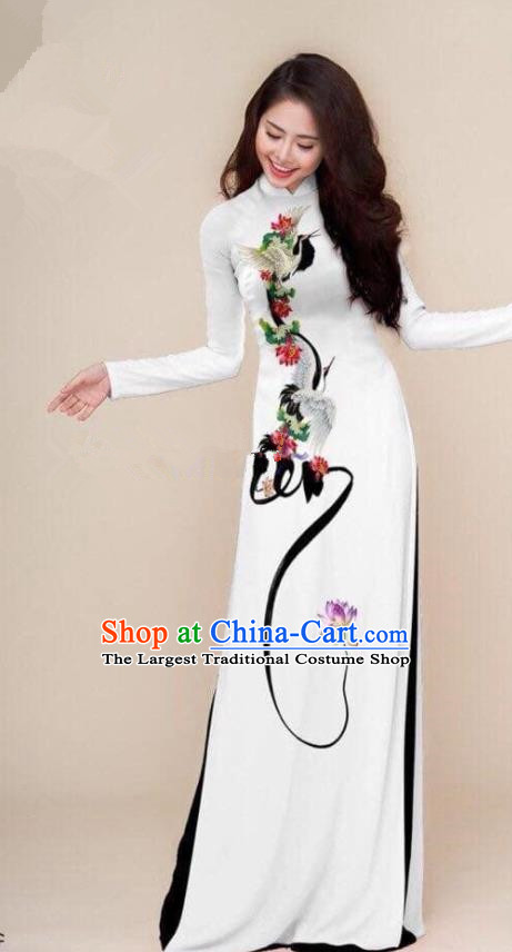 Asian Vietnam Traditional Printing Cranes White Cheongsam Vietnamese Classical Ao Dai Qipao Dress for Women