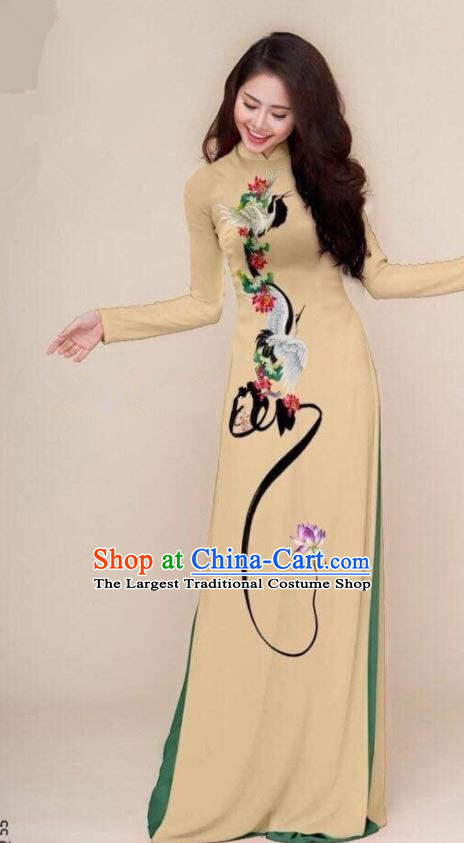 Asian Vietnam Traditional Printing Cranes Khaki Cheongsam Vietnamese Classical Ao Dai Qipao Dress for Women