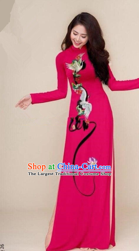 Asian Vietnam Traditional Printing Cranes Rosy Cheongsam Vietnamese Classical Ao Dai Qipao Dress for Women