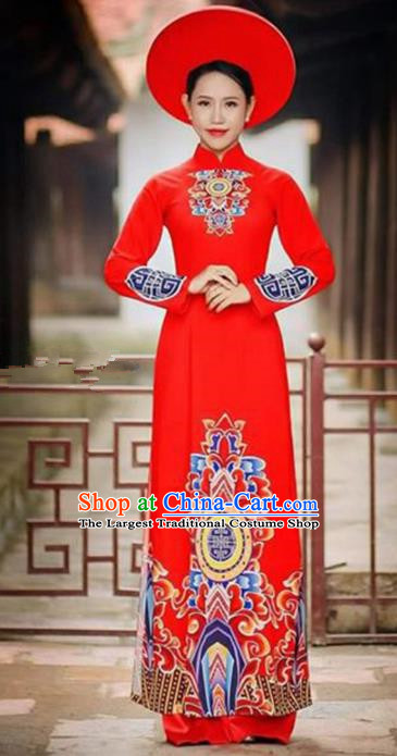 Asian Vietnam Traditional Bride Red Cheongsam Vietnamese Classical Ao Dai Qipao Dress for Women
