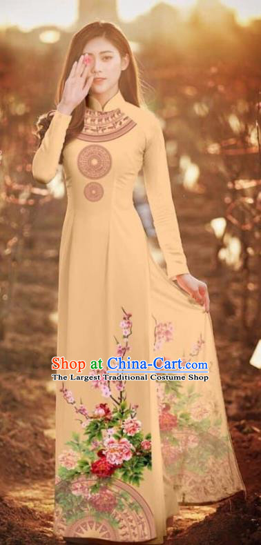 Asian Vietnam Traditional Printing Peony Khaki Cheongsam Vietnamese Classical Ao Dai Qipao Dress for Women