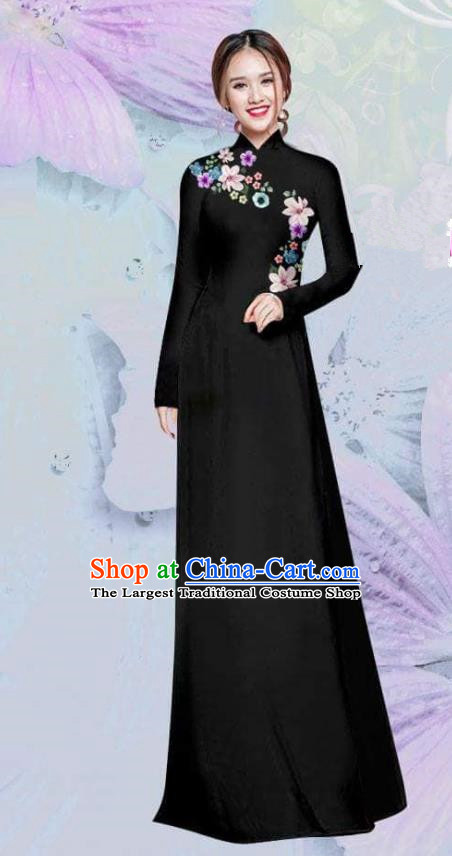 Asian Vietnam Traditional Cheongsam Vietnamese Classical Black Ao Dai Qipao Dress for Women