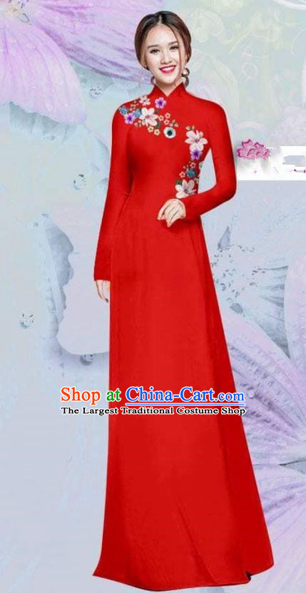 Asian Vietnam Traditional Cheongsam Vietnamese Classical Red Ao Dai Qipao Dress for Women