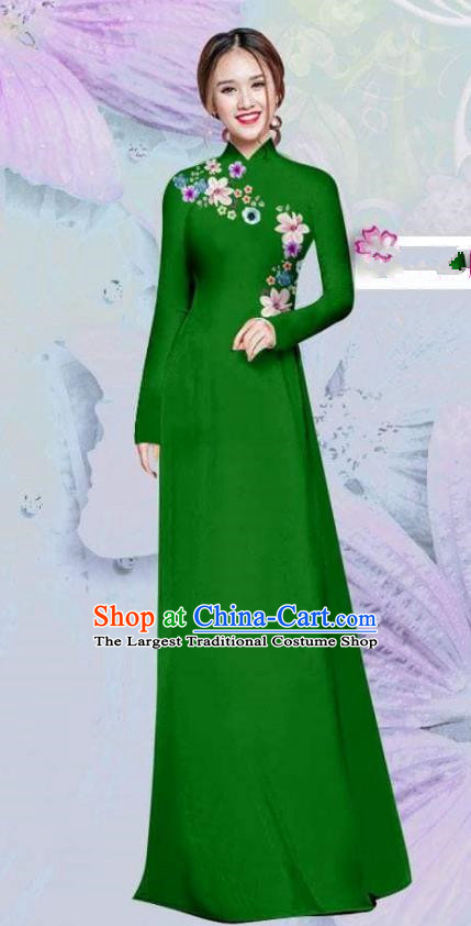 Asian Vietnam Traditional Cheongsam Vietnamese Classical Green Ao Dai Qipao Dress for Women