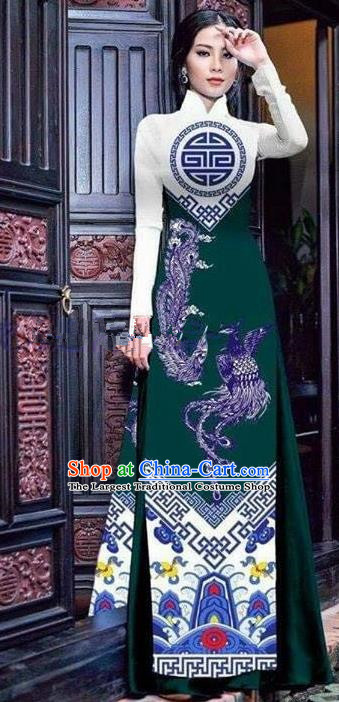 Asian Vietnam Traditional Printing Phoenix Green Cheongsam Vietnamese Ao Dai Qipao Dress for Women