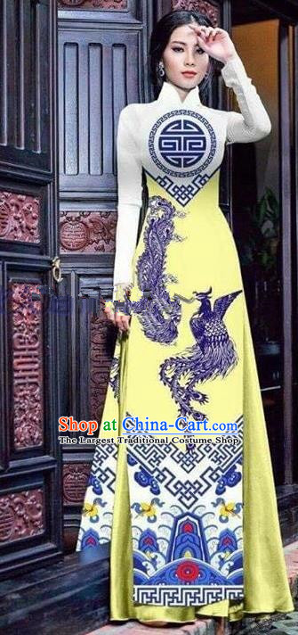 Asian Vietnam Traditional Printing Phoenix Yellow Cheongsam Vietnamese Ao Dai Qipao Dress for Women