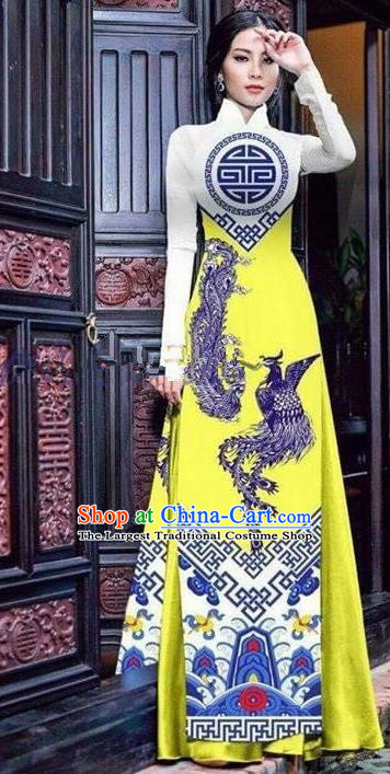 Asian Vietnam Traditional Printing Phoenix Bright Yellow Cheongsam Vietnamese Ao Dai Qipao Dress for Women