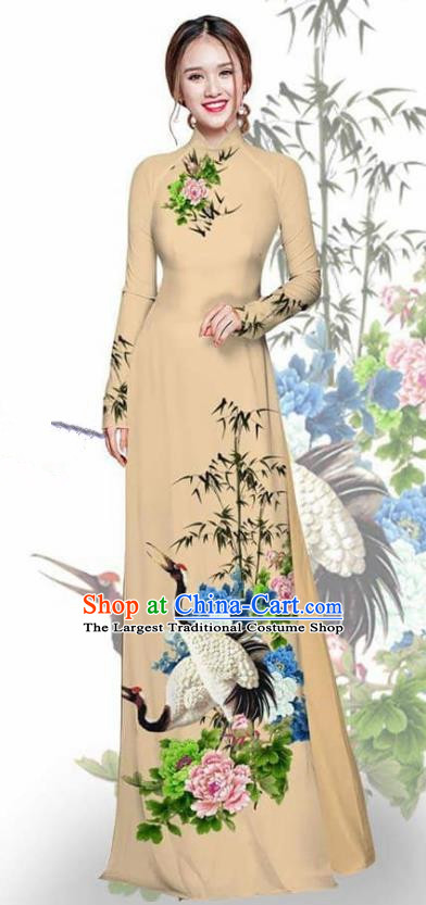 Asian Vietnam Traditional Printing Crane Peony Khaki Cheongsam Vietnamese Ao Dai Qipao Dress for Women