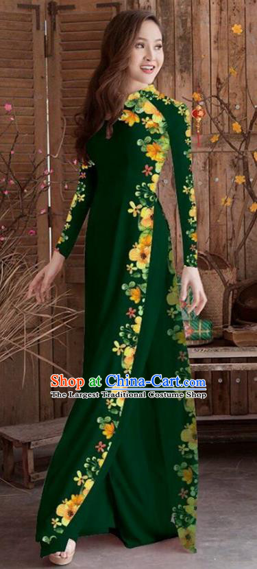 Asian Vietnam Traditional Printing Cheongsam Vietnamese Atrovirens Ao Dai Qipao Dress for Women