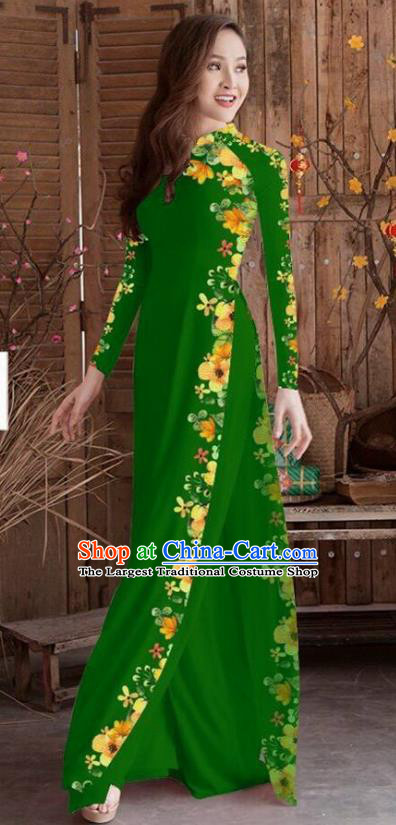 Asian Vietnam Traditional Printing Cheongsam Vietnamese Deep Green Ao Dai Qipao Dress for Women