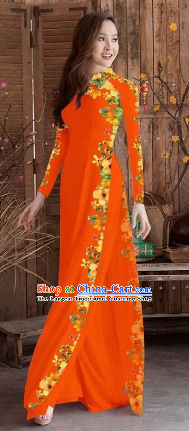 Asian Vietnam Traditional Printing Cheongsam Vietnamese Orange Ao Dai Qipao Dress for Women