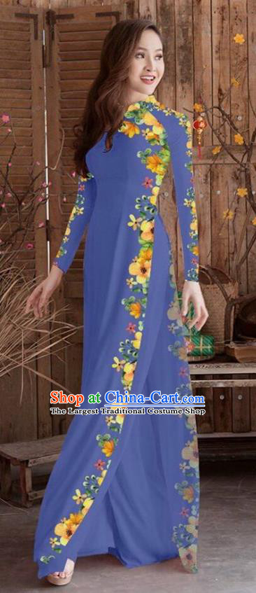 Asian Vietnam Traditional Printing Cheongsam Vietnamese Navy Ao Dai Qipao Dress for Women