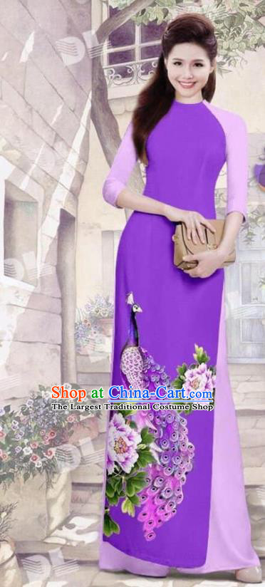 Asian Vietnam Traditional Purple Cheongsam Vietnamese Printing Peacock Ao Dai Qipao Dress for Women