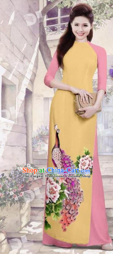 Asian Vietnam Traditional Yellow Cheongsam Vietnamese Printing Peacock Ao Dai Qipao Dress for Women