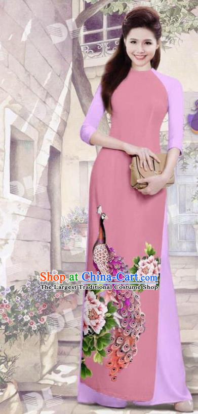 Asian Vietnam Traditional Peach Pink Cheongsam Vietnamese Printing Peacock Ao Dai Qipao Dress for Women