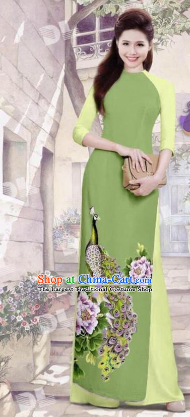 Asian Vietnam Traditional Olive Green Cheongsam Vietnamese Printing Peacock Ao Dai Qipao Dress for Women