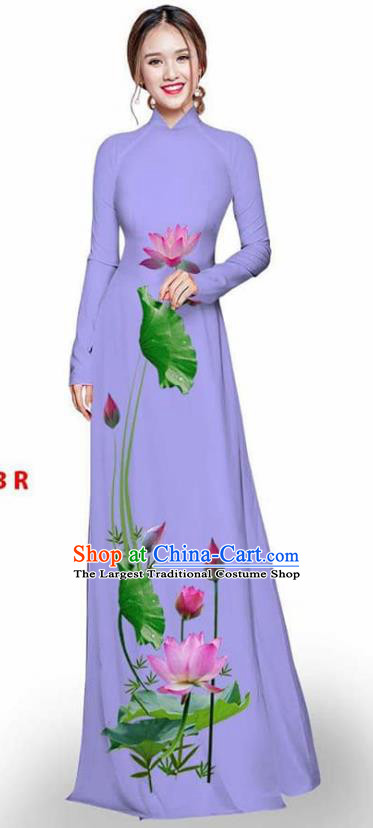 Asian Vietnam Traditional Lilac Cheongsam Vietnamese Printing Lotus Ao Dai Qipao Dress for Women