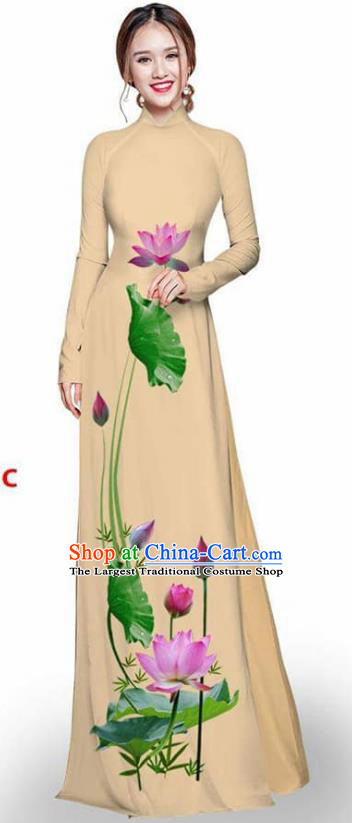 Asian Vietnam Traditional Khaki Cheongsam Vietnamese Printing Lotus Ao Dai Qipao Dress for Women