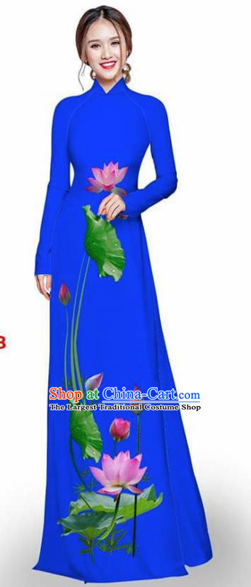 Asian Vietnam Traditional Royalblue Cheongsam Vietnamese Printing Lotus Ao Dai Qipao Dress for Women