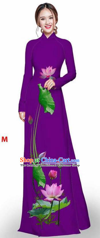 Asian Vietnam Traditional Purple Cheongsam Vietnamese Printing Lotus Ao Dai Qipao Dress for Women