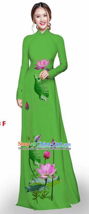 Asian Vietnam Traditional Green Cheongsam Vietnamese Printing Lotus Ao Dai Qipao Dress for Women