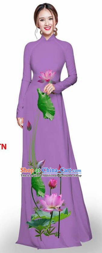 Asian Vietnam Traditional Light Purple Cheongsam Vietnamese Printing Lotus Ao Dai Qipao Dress for Women