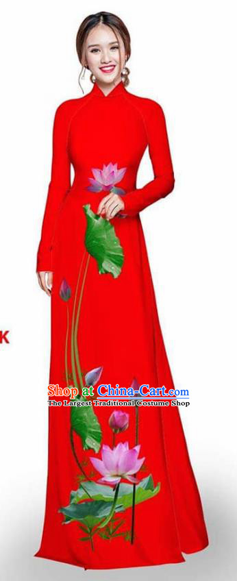 Asian Vietnam Traditional Red Cheongsam Vietnamese Printing Lotus Ao Dai Qipao Dress for Women