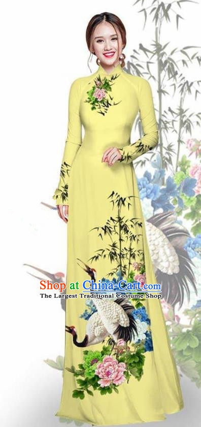 Asian Vietnam Traditional Printing Crane Peony Light Yellow Cheongsam Vietnamese Ao Dai Qipao Dress for Women