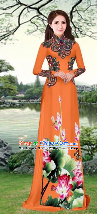 Asian Traditional Vietnam Female Costume Vietnamese Printing Lotus Orange Cheongsam Ao Dai Qipao Dress for Women