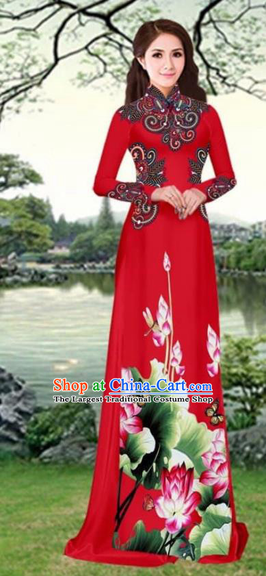 Asian Traditional Vietnam Female Costume Vietnamese Printing Lotus Red Cheongsam Ao Dai Qipao Dress for Women