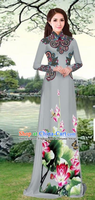 Asian Traditional Vietnam Female Costume Vietnamese Printing Lotus Grey Cheongsam Ao Dai Qipao Dress for Women