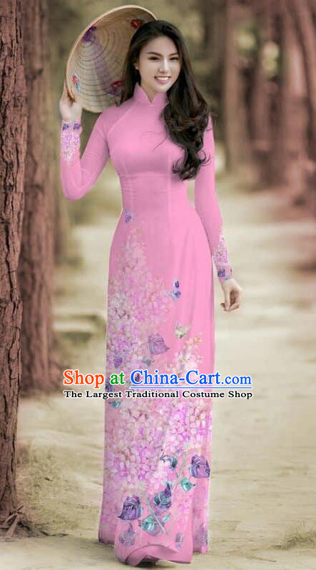 Asian Traditional Vietnam Female Costume Vietnamese Bride Cheongsam Pink Ao Dai Qipao Dress for Women
